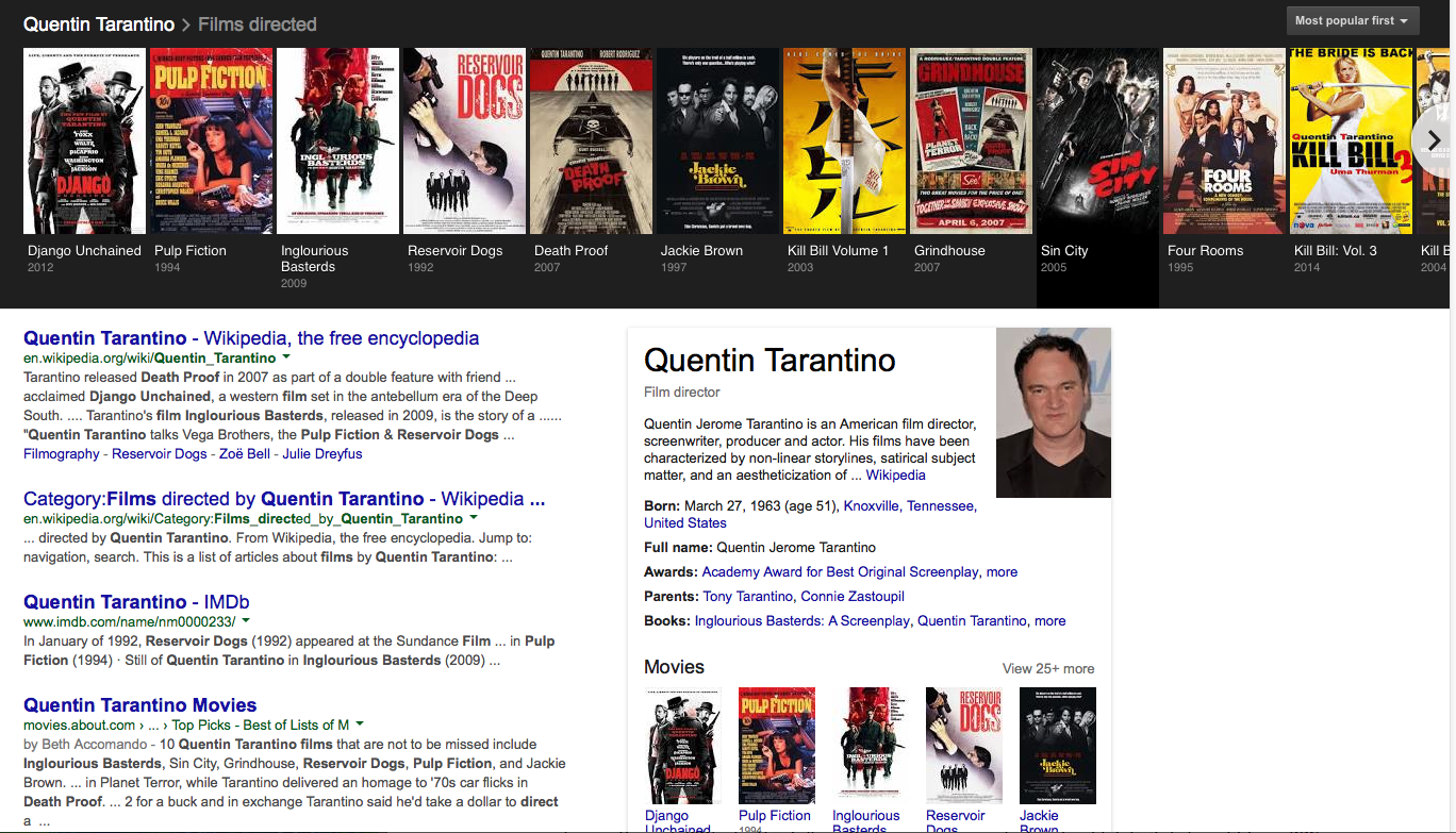 google's knowledge graph films