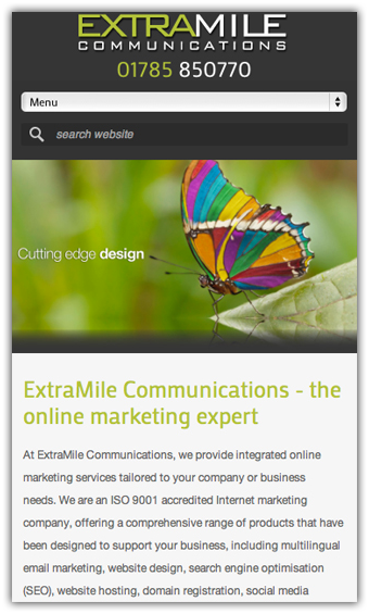 Extramile mobile view